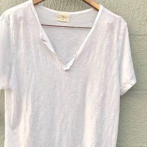 ANTHRO T.la White Cotton V-Neck T-Shirt | XL